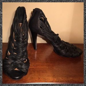 EUC GIANNI BINI Black Gladiator Stilettos Size 9
